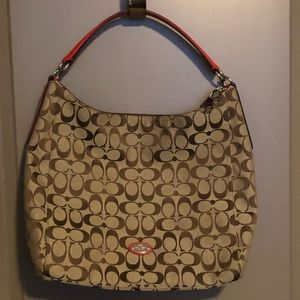 COACH Tan Hobo with Medium C Monogram